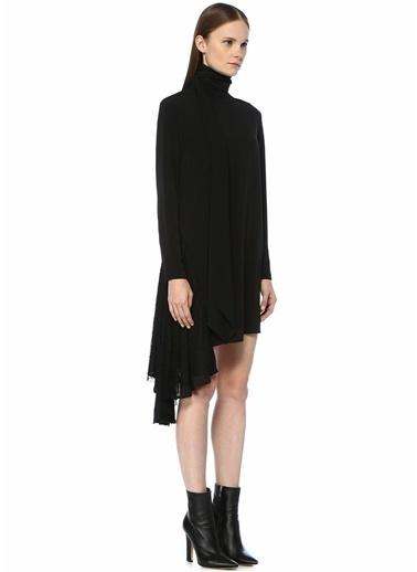 Academia Dik Yaka Dantelli Asimetrik Midi Krep Elbise Siyah